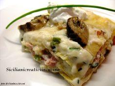 Lasagne con porcini,bacon e burrata