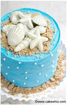 Use this step by step tutorial to make an easy beach cake that's perfect for Summer. It's decorated with homemade chocolate seashells and brown sugar sand.