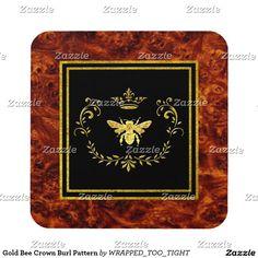 Gold Bee Crown Burl Pattern Beverage Coaster