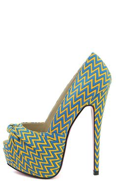 Red Kiss Zizi Chevron Knotted Platform Pumps