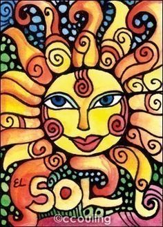EL SOL / The Sun Loteria Series Artist Trading by LunaGraphica