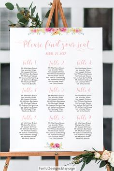 Floral SEATING chart - Table assignment board - Wedding seating plan - Floral wedding reception idea. SHOP now at FortuDesigns.Etsy.com CLICK to find out more =>>>> #SEATINGchart #Weddingseating #weddingreception