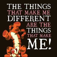 That's me being different is a proud thing