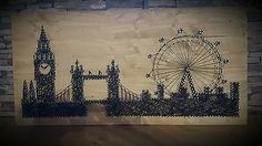String art Bild **London Eye, Big Ben und Tower Bridge **