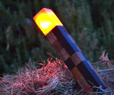 Picture of Real-Life Wooden Minecraft Torch! (Perfect for Night & Day! Woodworking Projects For Kids, Wooden Projects, Wooden Crafts, Wooden Diy, Diy Projects To Try, Project Ideas, Craft Projects, Minecraft Real Life, Minecraft Room