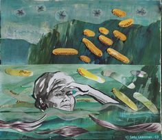 By: Satu Laaninen  Herkkupurkki: kollaasipikkukimalainen.blogspot.com  drawing, portrait,collague, shame, fear, scape goat, victim, desperate, broken heart, narcism, marttyyri, summer