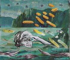 By: Satu Laaninen  Herkkupurkki: kollaasipikkukimalainen.blogspot.com  drawing, portrait,collague, shame, fear, scape goat, victim, desperate, broken heart, narcism, marttyyri, summer