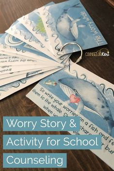 Worry activity for school counseling: read the worry story with your students! They will learn about what worry is, 3 worry management strategies, and practice sharing their worries with the worry whale. Students write their worries on the fish and feed t School Counseling Office, Elementary Counseling, Counseling Activities, Art Therapy Activities, School Counselor, Elementary Schools, Group Counseling, Health Activities, Work Activities