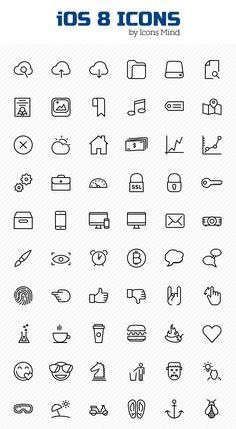 Free iOS 8 Icons Set (100 Icons)
