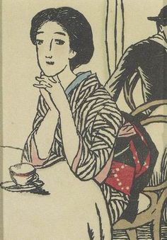 "By Yumeji Takehisa ca ""Cafe no Onna"" (Woman at Cafe), Woodblock print. Japanese Art Modern, Japanese Artwork, Japanese Painting, Japanese Prints, Japanese Illustration, Illustration Art, Art Occidental, Korean Art, Japan Art"