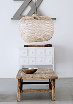 Bodie and Fou | Bamboo Pendant & Wooden Stool | Est Magazine