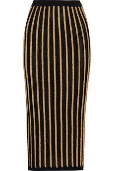 Balmain Striped stretch-knit skirt | NET-A-PORTER