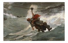 """Winslow Homer The Lifeline """" Currently in Philadelphia Museum of Art. If you take a survey course in the history of American art when you get to Homer this is likely to be one of the examples. Winslow Homer Paintings, Google Art Project, Philadelphia Museum Of Art, Philadelphia Pa, Oil Painting Reproductions, Painting Process, Figure Painting, Art Abstrait, Held"""