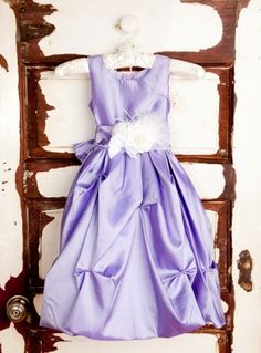 Girls Satin Party Dress - Lavender would do a blush colored flower