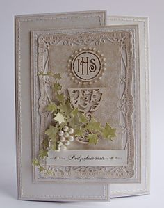 Dorota_mk: komunia First Communion Cards, First Holy Communion, Hobbies And Crafts, Diy And Crafts, Religion, White Envelopes, Baby Cards, Creative Cards, Fabric Scraps