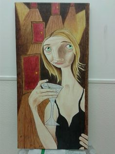 The Saddest Girl To Ever Hold A Martini.  Acrylic on canvas.  (sold)