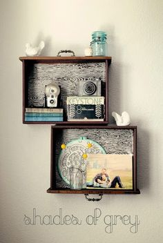 Old dresser drawers used as shelves!!  Love it.