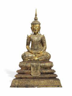 A GILT BRONZE FIGURE OF BUDDHA -  THAILAND, CIRCA 19TH CENTURY