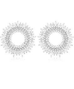 brinco mandala com zirconias cristais semijoia prata