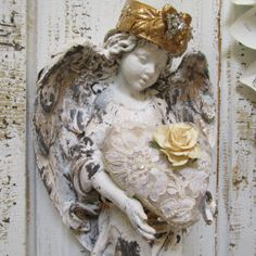 Angel statue wall sculpture shabby chic hand by AnitaSperoDesign, $170.00