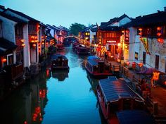 Shantang Street by dusk, Suzhou, China.  Marco Polo dubbed Suzhou the Venice of the East for all its canals.