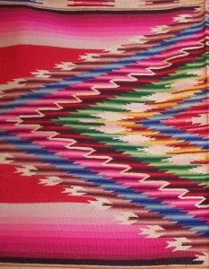 Mexican Saltillo Serape Blanket Poncho 1920s Textile Rug | GreatestCollectibles.com