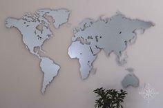 World Map Wall Decor, Etsy, Design, Decoration, Modern, Galvanized Steel, World Wide Map, Cards, Decor