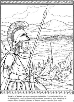 Warriors of the Ancient World Coloring Book Images - Rainbow Resource Center, Inc. Greek History, World History, Ancient History, Colouring Pages, Adult Coloring Pages, Coloring Books, Ancient Greek City, Ancient Greece, Ancient Sparta
