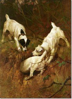 Wardle, Arthur  - Arthur Wardle - Jack Russell Terriers at Rabbit Hole 1886 Archival Fine Art Paper Print