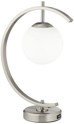 Possini Euro Brushed Nickel Crescent USB LED Desk Lamp - #EU8X267 - Euro Style Lighting