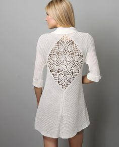 Lovely crochet inset in a knitted jacket ...