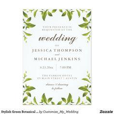 Stylish Green Botanical Leaves Wedding Card
