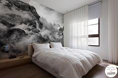 Mountains and clouds Scandinavian bedroom Pixers We live to change Home Bedroom, Bedroom Decor, Winter Bedroom, Girls Bedroom, Bedroom Furniture, Bedroom Ideas, Bedrooms, Wall Murals Bedroom, Wall Art Wallpaper