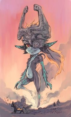 Midna and Wolf Link Legend Of Zelda Midna, Link And Midna, Twilight Princess Midna, New Tomb Raider, Amazing Drawings, Breath Of The Wild, Video Game Art, Manga, Film