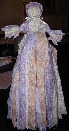 No Sew Rag Doll by fashioning rag strips.  Bonnet was sewn.