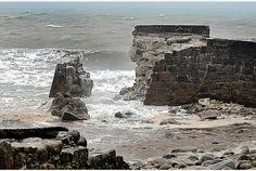 Feb, harbor wall at Lamorna Cove, Cornwall, destroyed. Doomsday Book, Stormy Sea, Truro, Seas, Devon, Cornwall, Mount Rushmore, Britain, Ireland