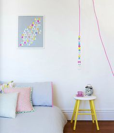 neutrals with pretty pops of pastel and neon. 91 Magazine, via Flickr.