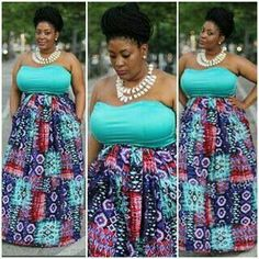 Loving this bold multi colored  print making skirt and teal top