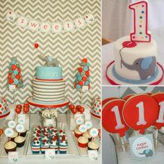 A Chevron, Elephant, and Balloon Birthday Party
