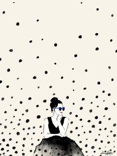 Polka Rain III Art Print by Karen Hofstetter www.karenhofstetter.com