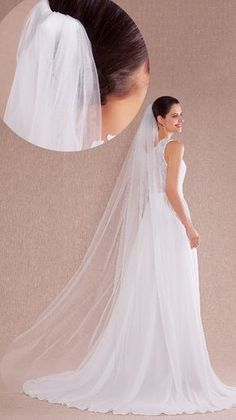 One-tier Cut Edge Wedding Veil Chapel Veils With 78.74 in (200cm) Tulle 2870ff21ca86