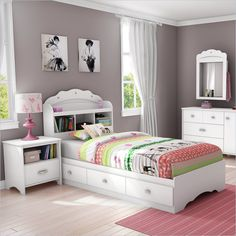 Lowest price online on all South Shore Sabrina 2 Piece Twin Bookcase Bedroom Set in Pure White - 3650212-098-KIT-2PKG