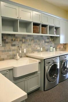 Utility room / laundry room storage counters sink. Home ideas. Home. Cabinets. Sink in utility room. Shelves. Storage.