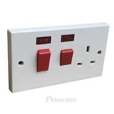45 amp white #cooker switch & #socket with #neons double pole oven electric 2 gan,  View more on the LINK: 	http://www.zeppy.io/product/gb/2/252075293545/