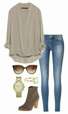 nice draped blouse love this whole outfit! Mode Outfits, Casual Outfits, Fashion Outfits, Womens Fashion, Ladies Fashion, Polyvore Outfits Casual, Dress Fashion, Jeans Fashion, Fashion Games