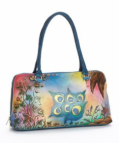Look what I found on #zulily! Green & Red Peacock Hand-Painted Leather Satchel #zulilyfinds