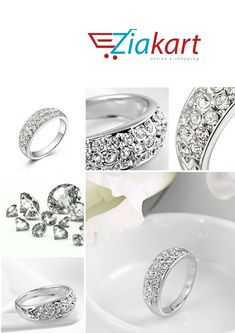 c5dc8dd8deac ROXI Trade Classic Crystal Jewelry Three Rows of Diamond-Plated Ring At  Just 30 ر