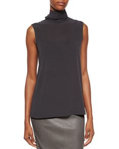 Matte Silk Turtleneck Top: •Brunello Cucinelli shell in matte stretch silk. •Ruched turtleneck; sleeveless. •Button/keyhole behind neck. •Straight, skimming fit. •Pullover style. •Silk/spandex. DARK GRAY