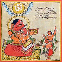 Lord Ganesha Reading Veda (Phad Painting on Cloth - Unframed)) Shri Ganesh, Lord Ganesha, Hanuman, Ganesha Art, Durga, Madhubani Art, Madhubani Painting, Traditional Paintings, Traditional Art