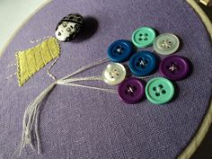 Lady With The Button Balloons Embroidery by cappywanna on Etsy